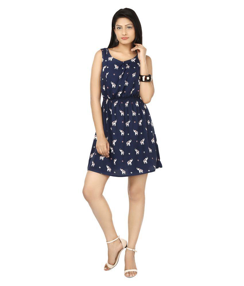 SareeGalaxy Blue Crepe Dresses