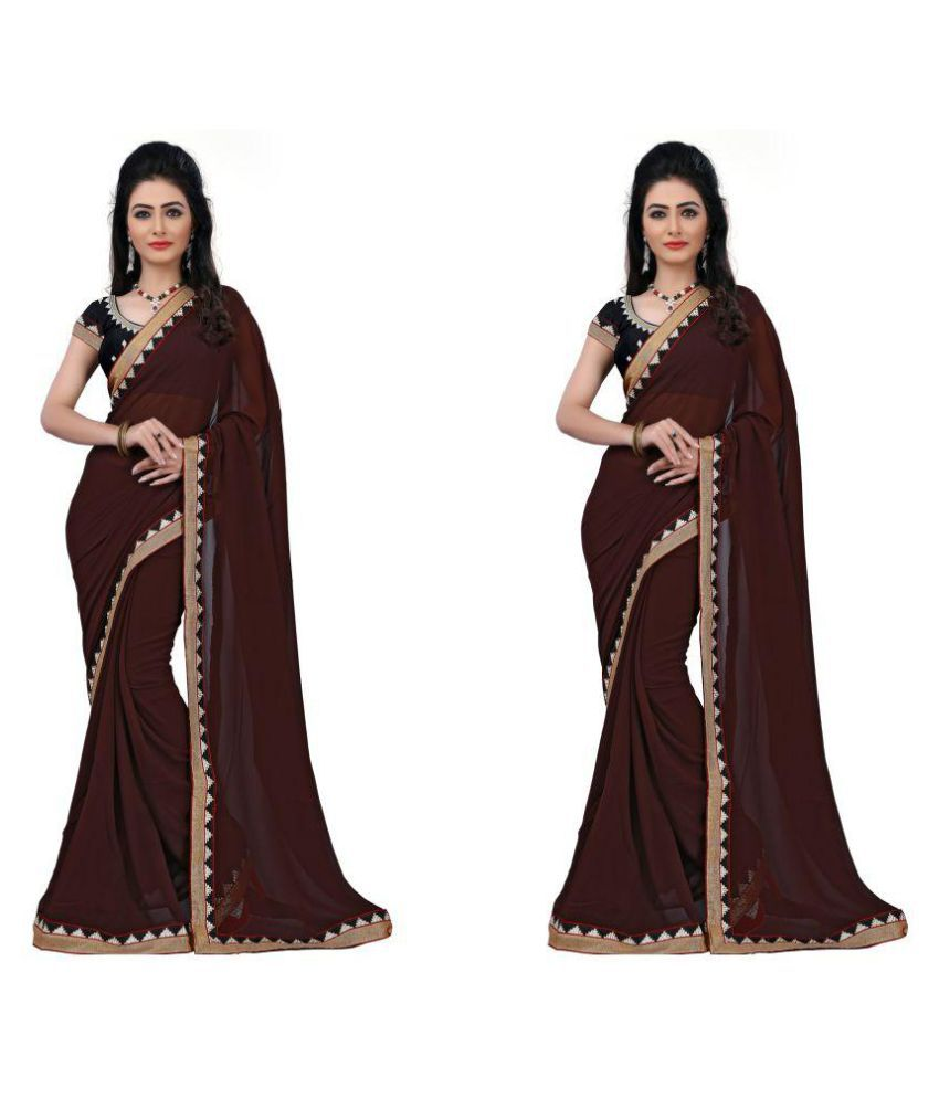 Sparkle Tradition Brown Chiffon Saree Combos