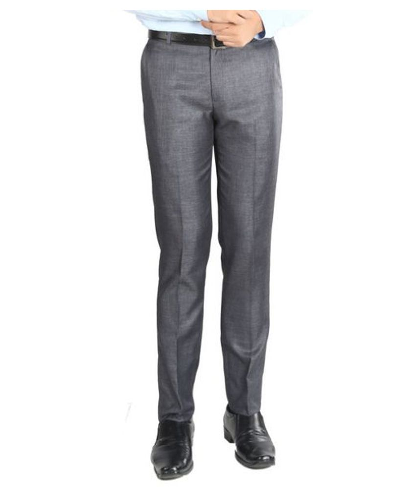 Numerics Grey Slim Flat Trouser