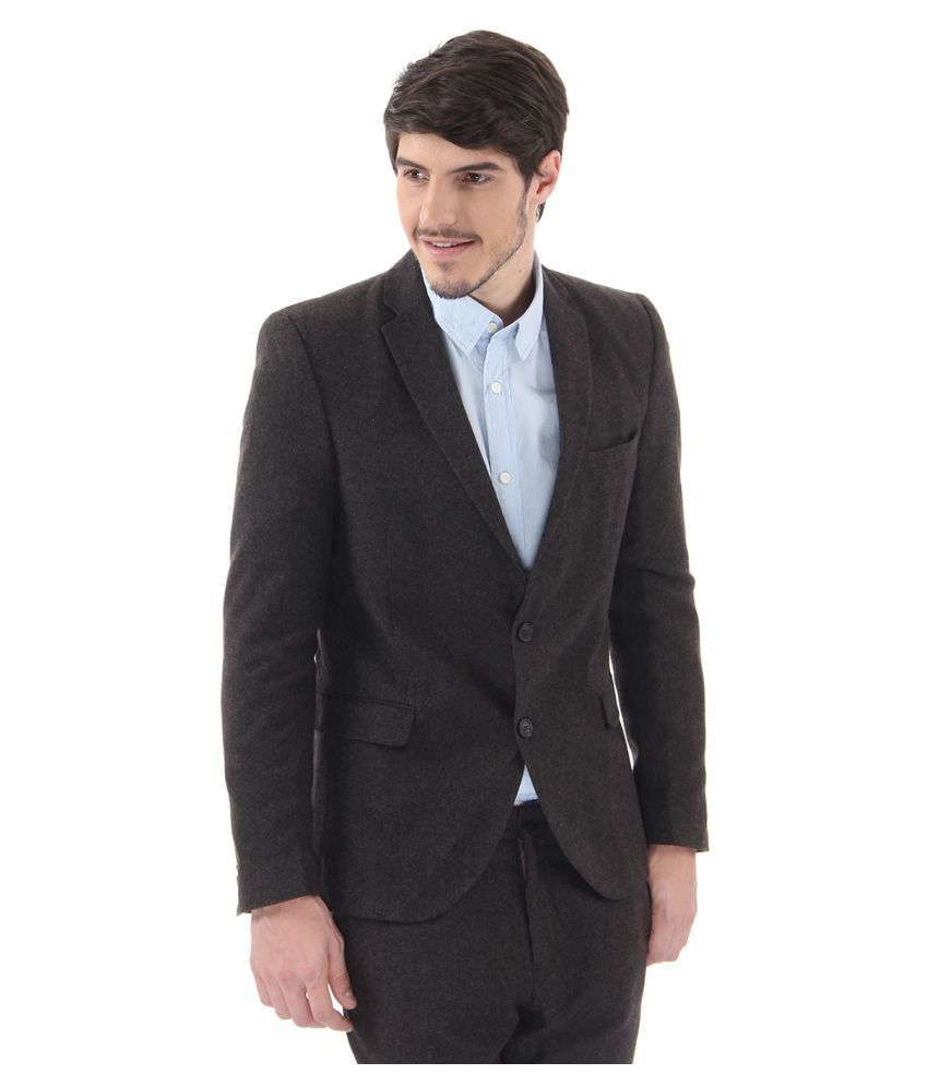 Selected Black Solid Casual Blazers