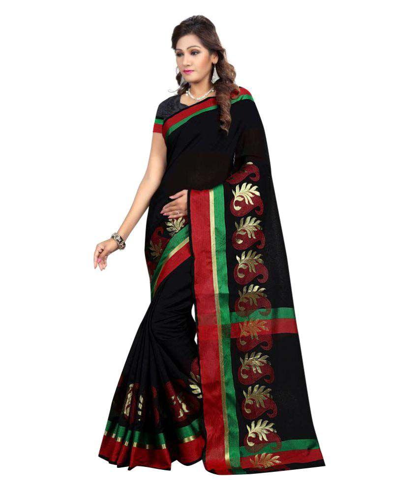 Ativha Saree Black Cotton Silk Saree