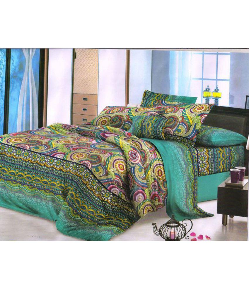 LFS Queen Poly Cotton Ethnic Bed Sheet - Buy LFS Queen Poly