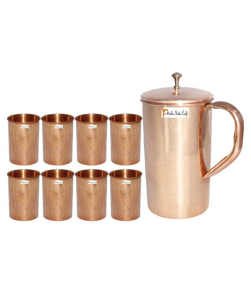 Prisha India Craft Copper Jug ( Handmade Jug 1800 ML / 60.86 oz ) with Eight (8) Glass Drinkware Set of Jug and Glass