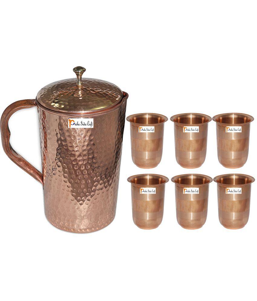 Prisha India Craft Copper Jug  ( Hammered Jug 1650 ML / 55.80 oz ) with Six Glass Drinkware Set of Jug and Glass