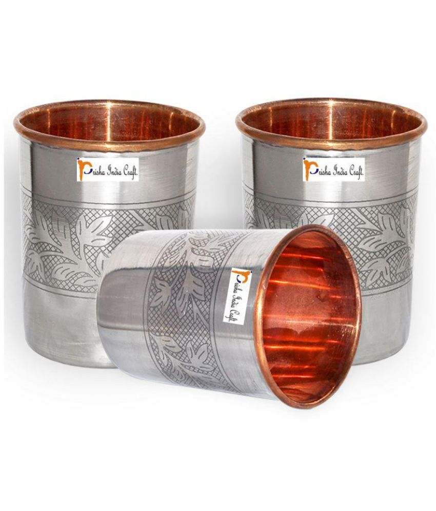 Set of 3 - Prisha India Craft ®Handmade Water Glass Copper Tumbler | Traveller's Copper Cup