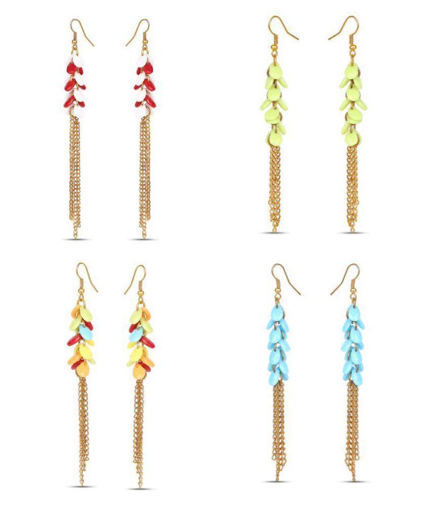 Johareez Multicolour Hanging Earrings - Pack of 4