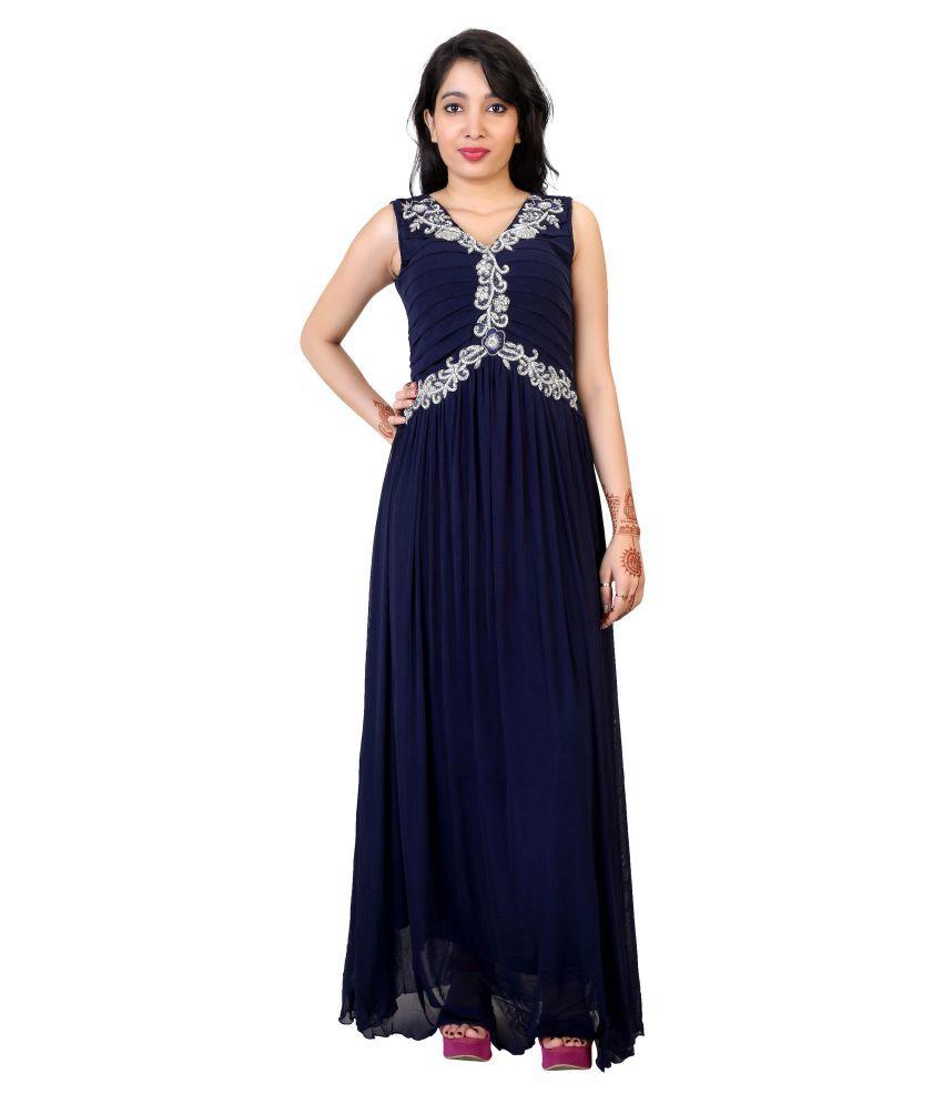 Carrel Navy Net Gown