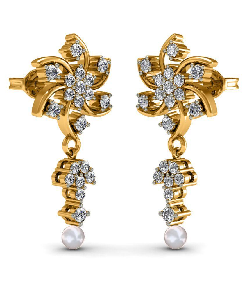 Diaonj 18k BIS Hallmarked Yellow Gold Diamond Drop Earrings