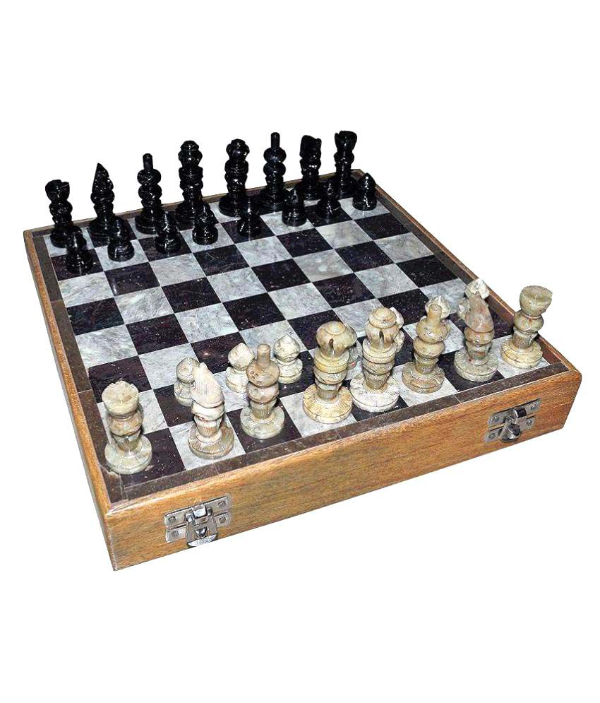Dungri Crafts Marble Wooden Chess Game Board Set
