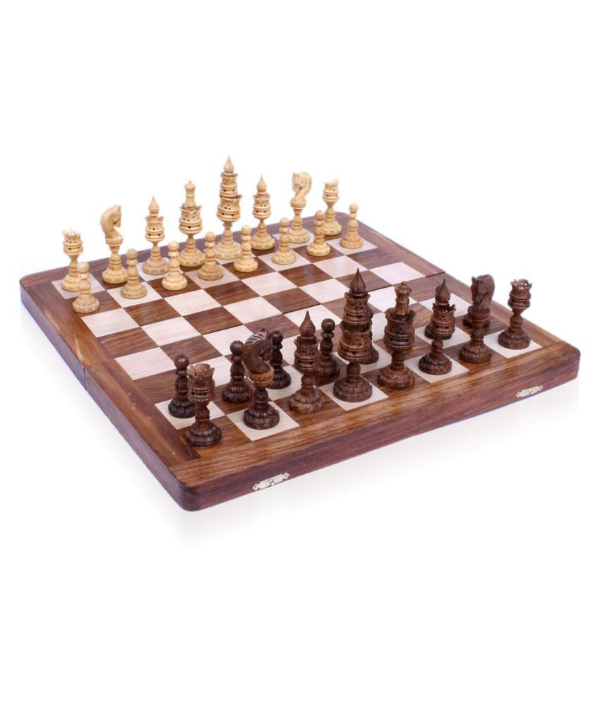 Home Sparkle Brown Lotus Design Chess Set 16 Inch