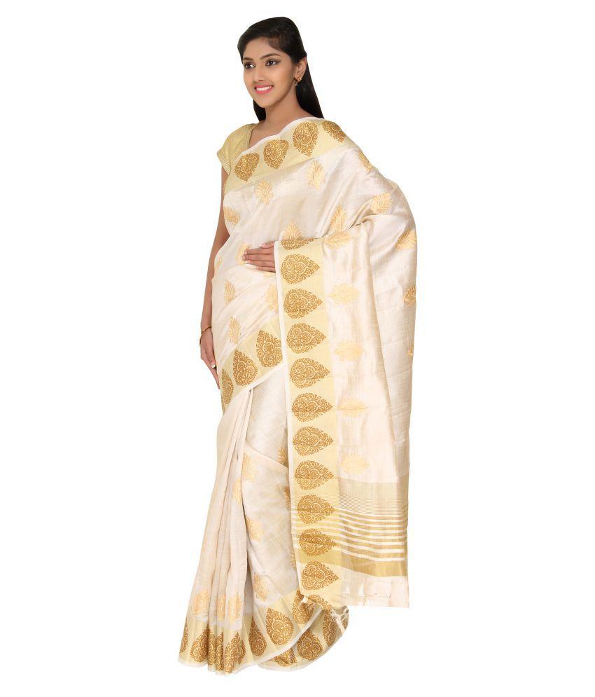 The Chennai Silks White and Beige Cotton Silk Saree - Buy ...