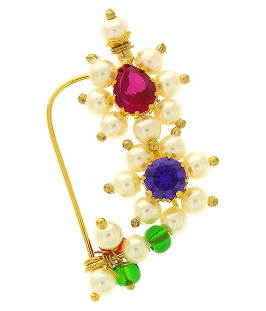 GirlZ! Traditional Maharashrian Bajirao Mastani Nath Nose Ring Pink Colour Stone Along With Pearl Beads For Women