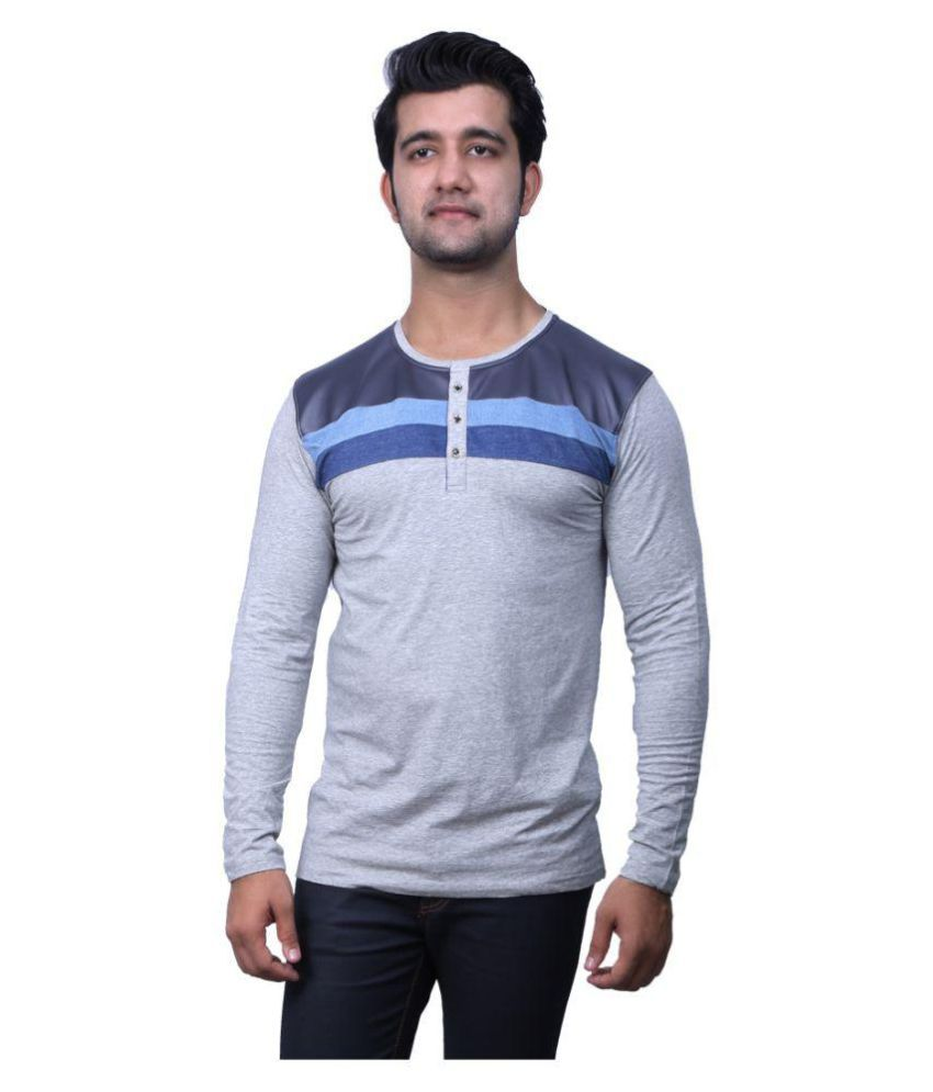 Indian Armour Grey Henley T-Shirt