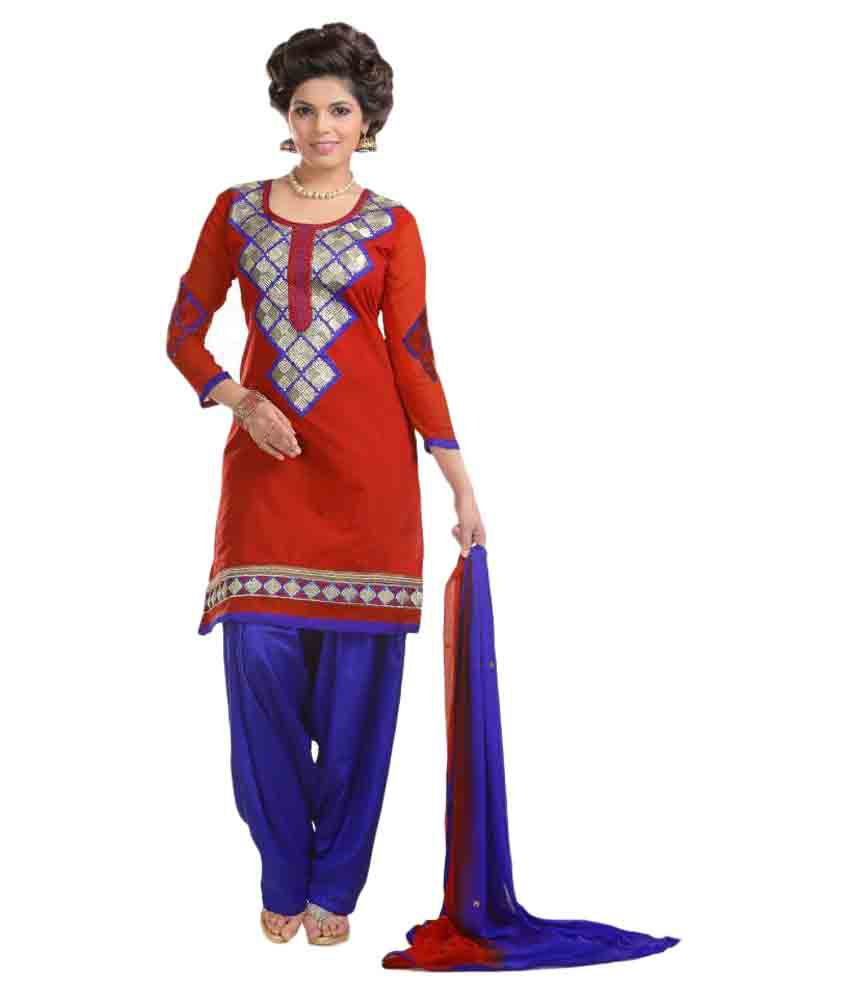 Finivo Fashion Red Chanderi Dress Material