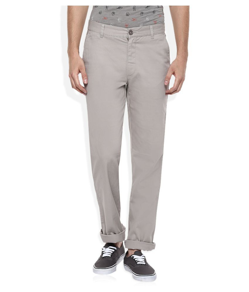 John Players Grey Regular Flat Trouser