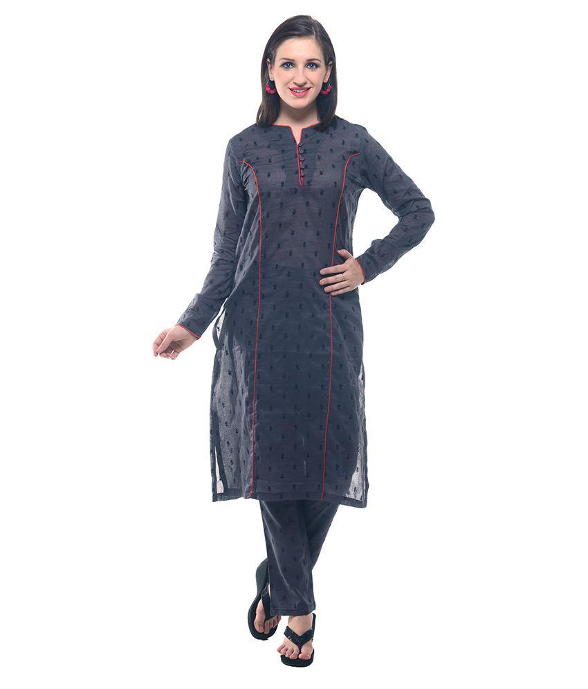 Lyla Black Cotton Straight Stitched Suit