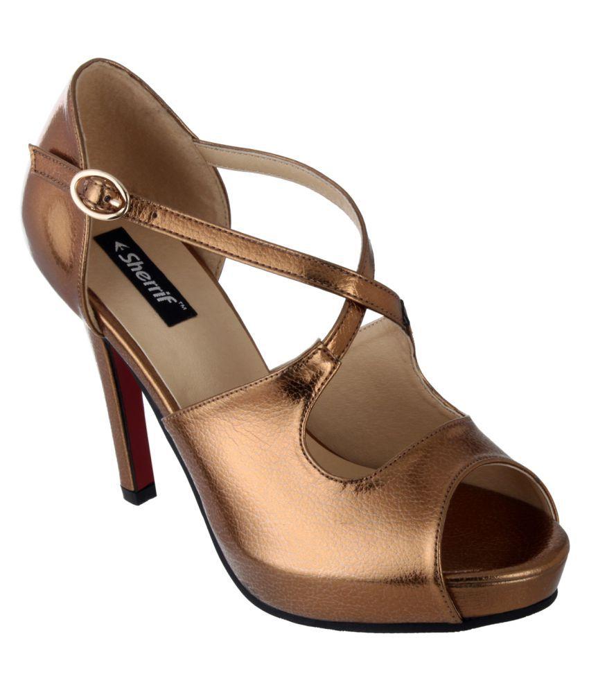 Sherrif Shoes Gold Stiletto Heels