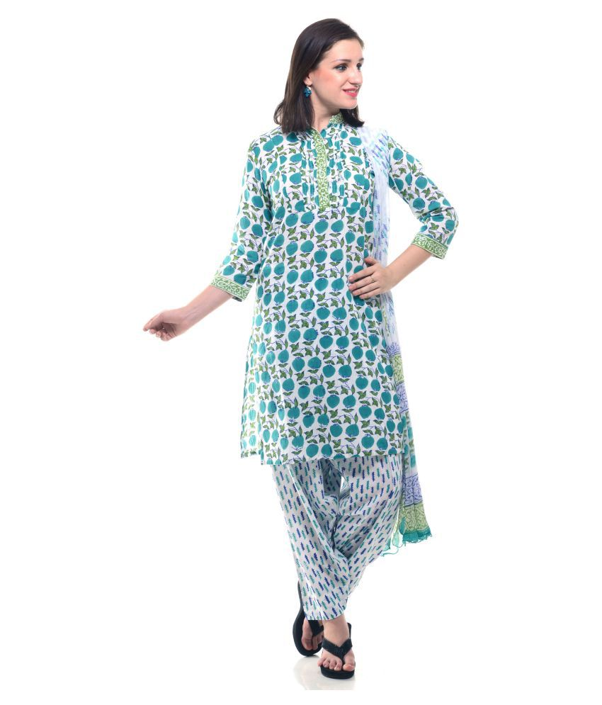 Lyla Multicoloured Cotton Straight Stitched Suit