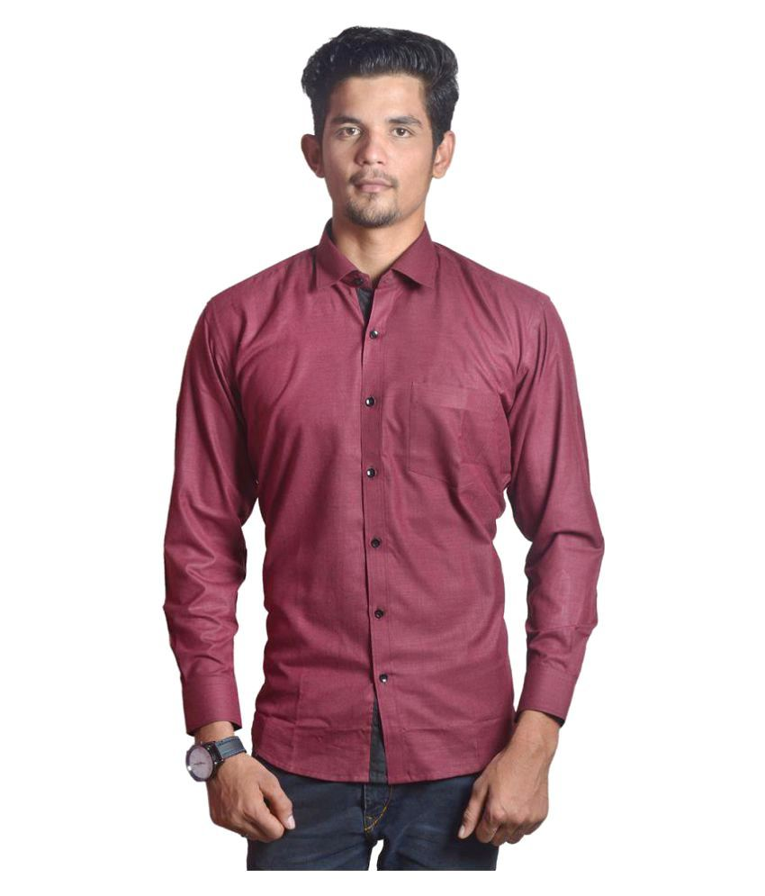 The Mods Maroon Casuals Regular Fit Shirt