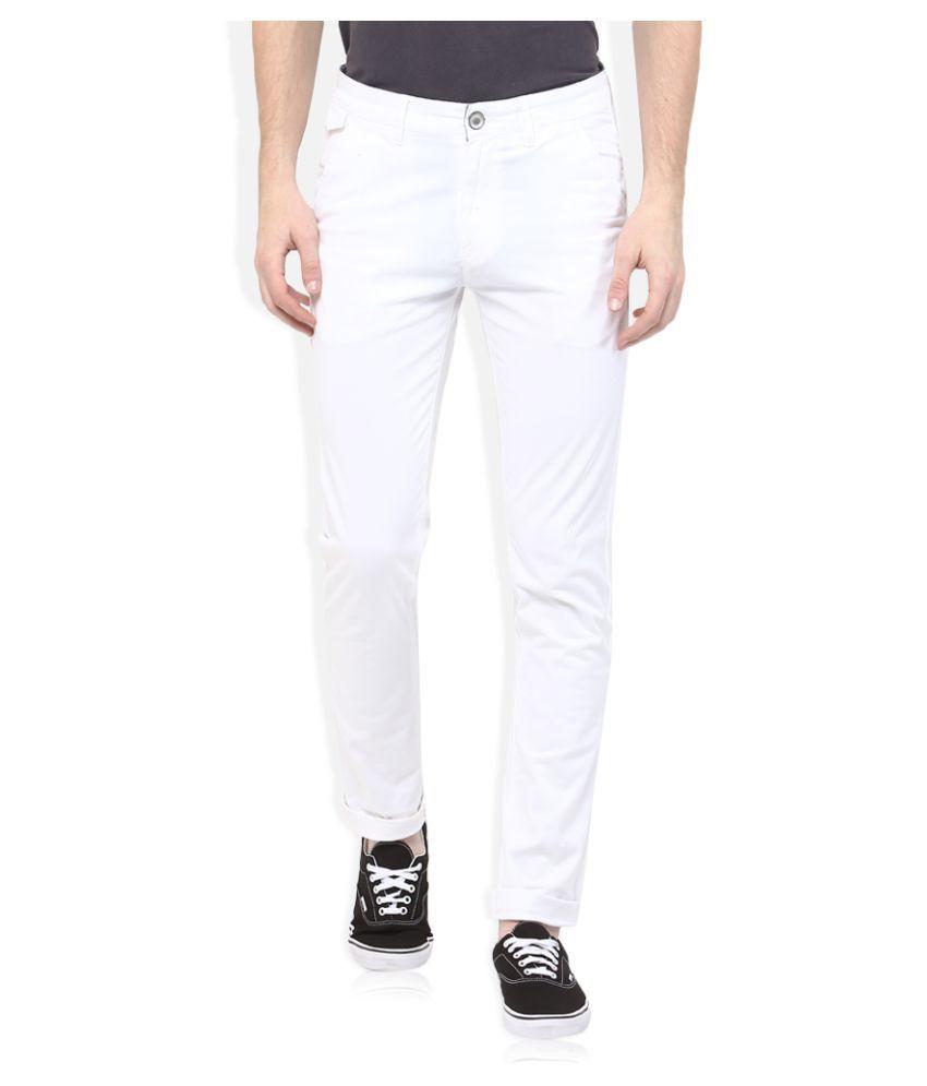Spykar White Slim Flat Trouser