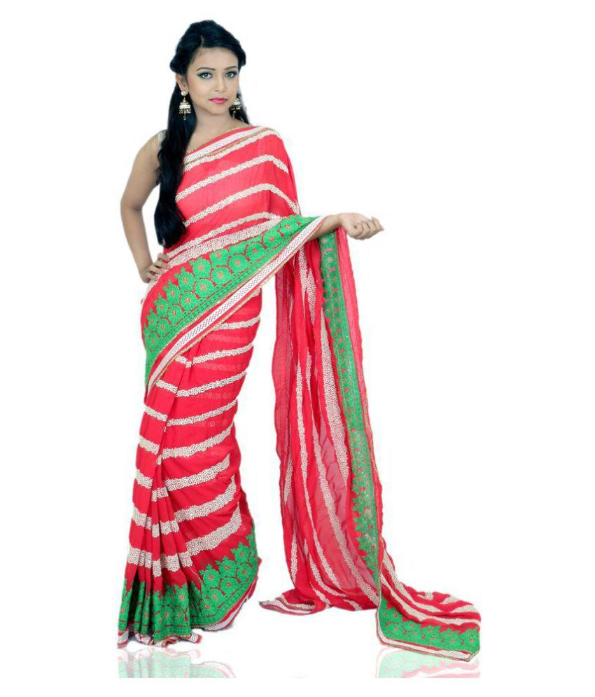 3fb05ec53b0f81 Red Rose Creations Red Georgette Saree - Buy Red Rose Creations Red  Georgette Saree Online at Low Price - Snapdeal.com