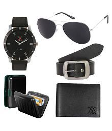 Lime Combo of Black Leather Wallet With Sunglasses, Watch, Card Holder and Belt For Men