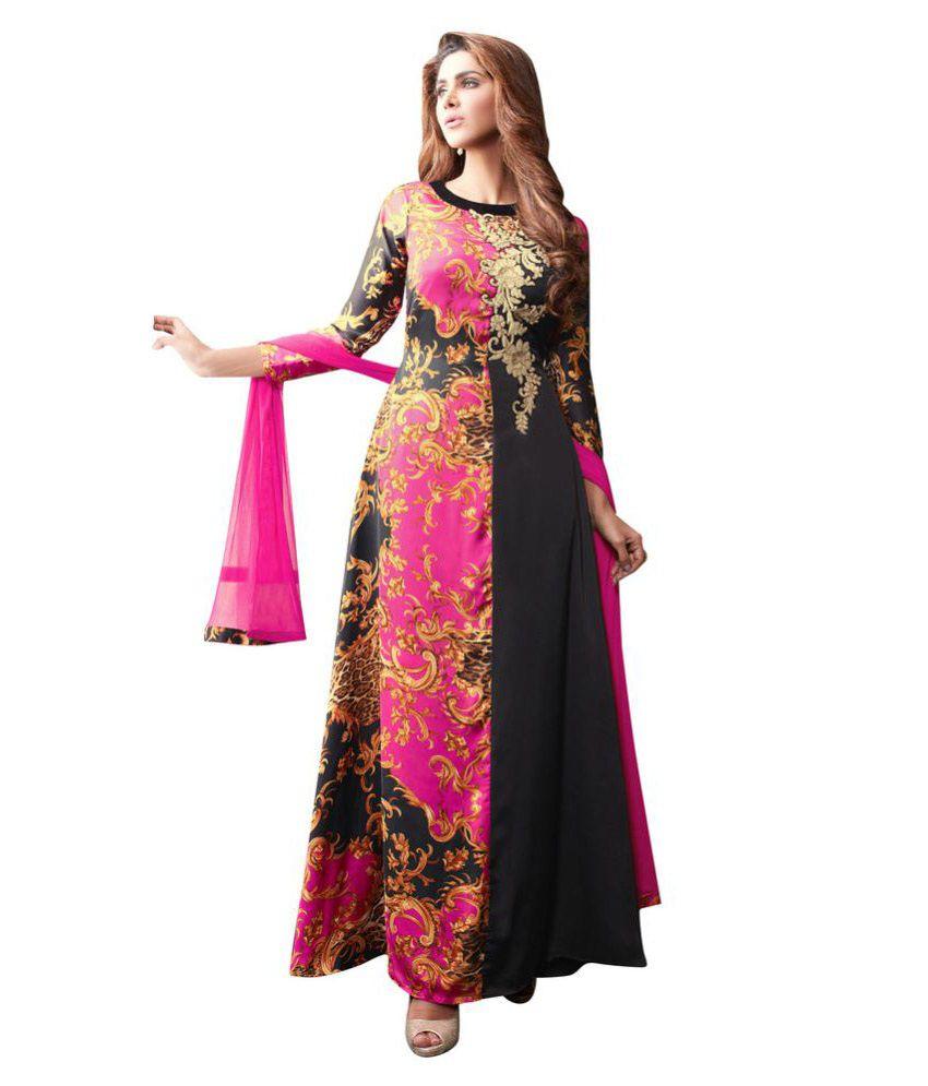 Fabvila Multicoloured Silk Dress Material