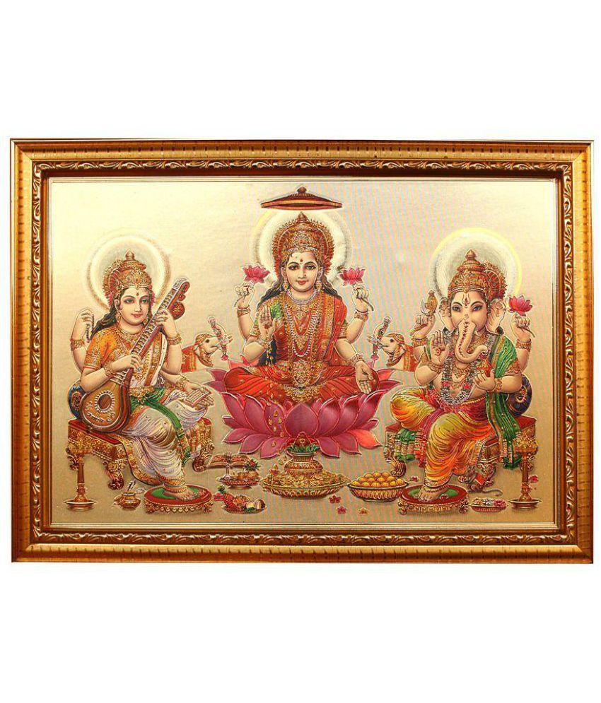 Indianara MDF Laxmi Ganesh & Sarawati Religious Paintings With Frame Single Piece