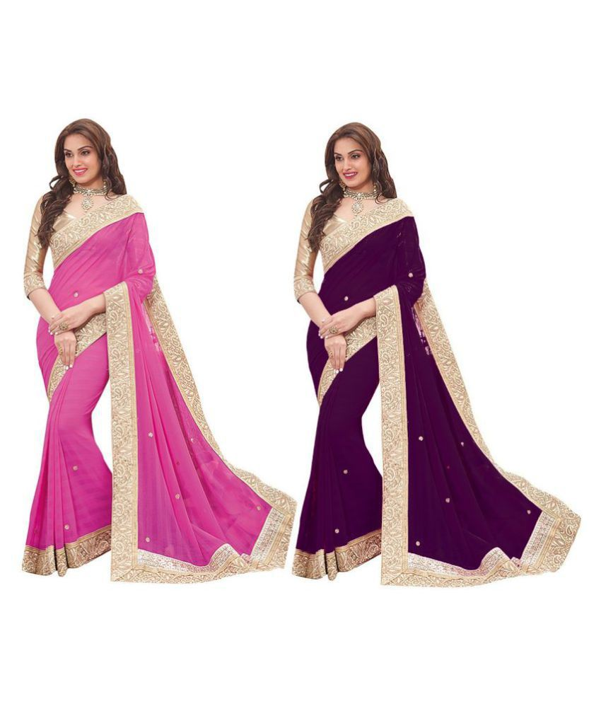 Neeta Creation Multicoloured Georgette Saree Combos