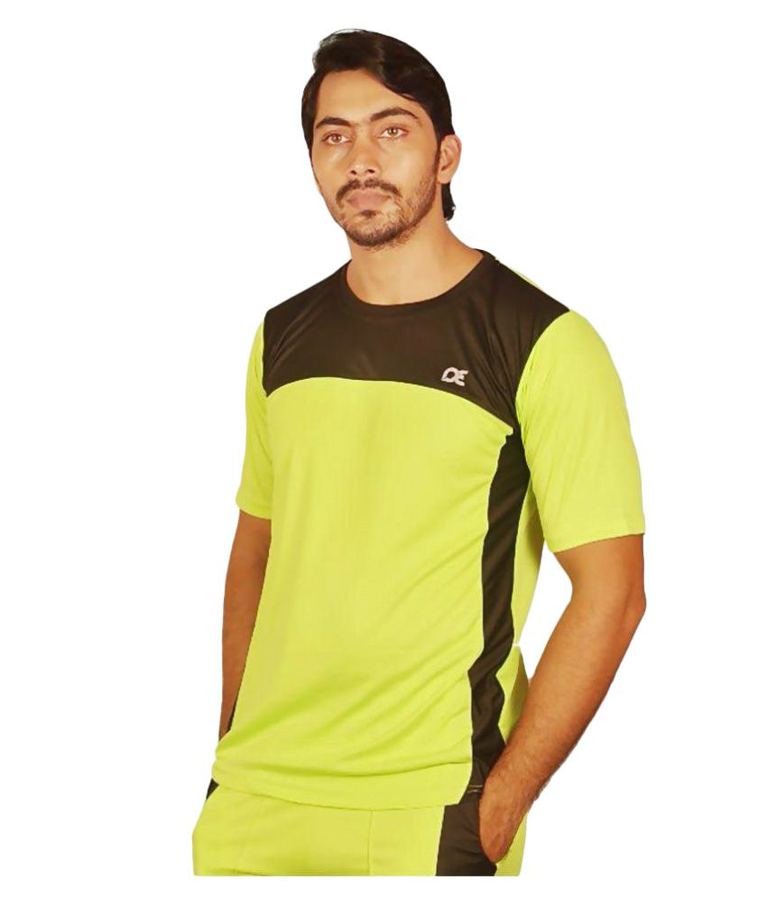 Dyed Colours Light Green Polyester Lycra T-Shirt Single Pack