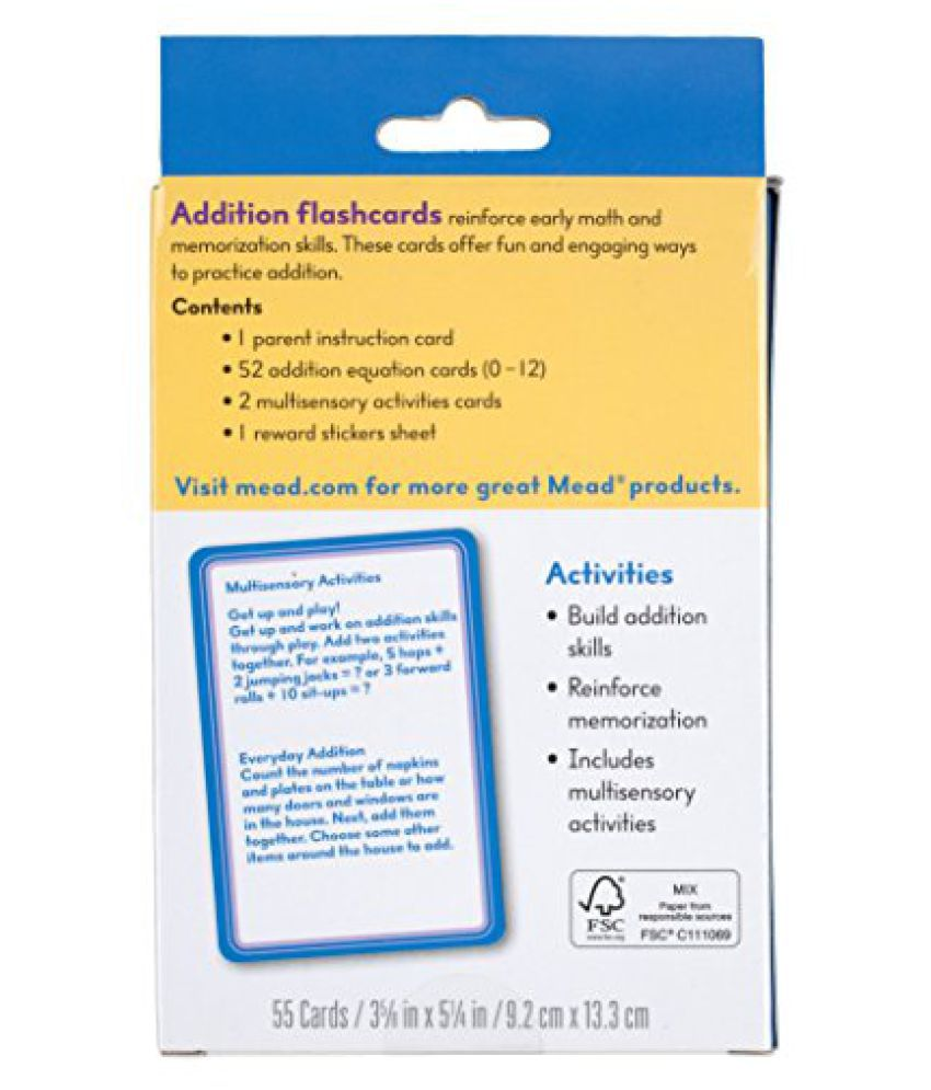 Mead Addition Flashcards 55 Cards Grades K 3 63034 Buy Mead