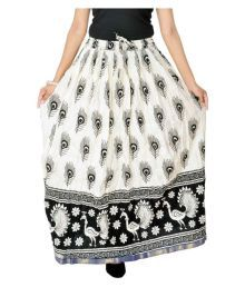 Jaipur Skirt Beige Cotton A-Line Skirt