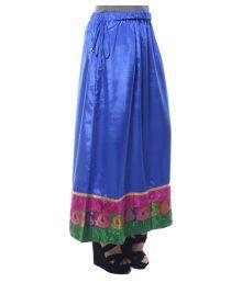Ridhima Fashion Blue Poly Satin A-Line Skirt - 680352315548