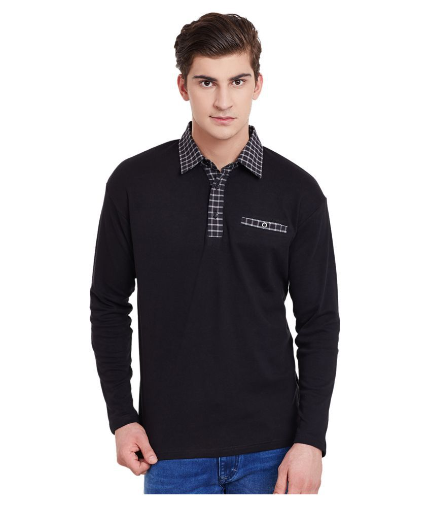 Hypernation Black Regular Fit Polo T Shirt