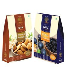OOSH Almond Kernel & Pitted Prune Regular Almond (Badam) Natural 500 Gm Pack Of 2