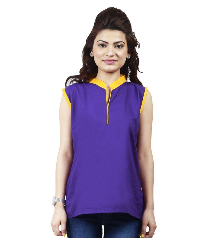 Nirosha Purple Cotton Straight Kurti