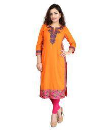 Cotton Culture Orange Rayon Straight Kurti - 652963302633