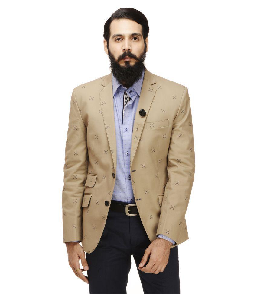 Monteil & Munero Khaki Printed Casual Blazers