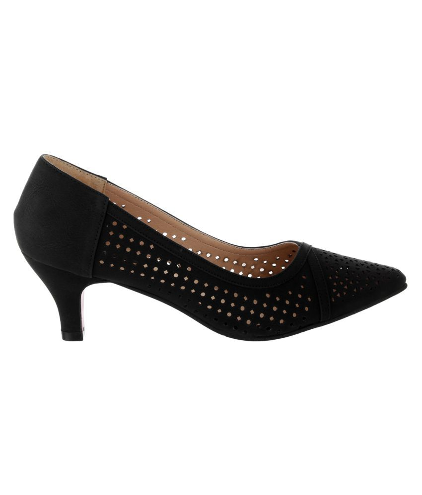 bc23b0d4703 Sherrif Shoes Black Kitten Heels Price in India- Buy Sherrif Shoes ...