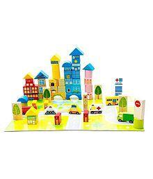 Montez Multicolor 62 Pcs City Blocks wooden Puzzle toys city blocks educational wooden toy