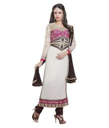 Fab Exclusive Off White Cotton Blend Dress Material