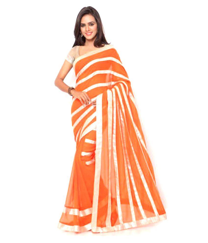 Sukuma Orange Polyester Saree Combos