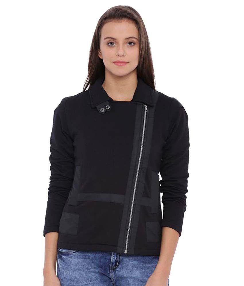 Campus Sutra Black Cotton Short Coats