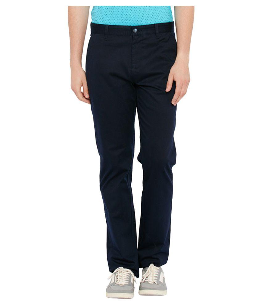Parx Blue Slim Flat Trouser