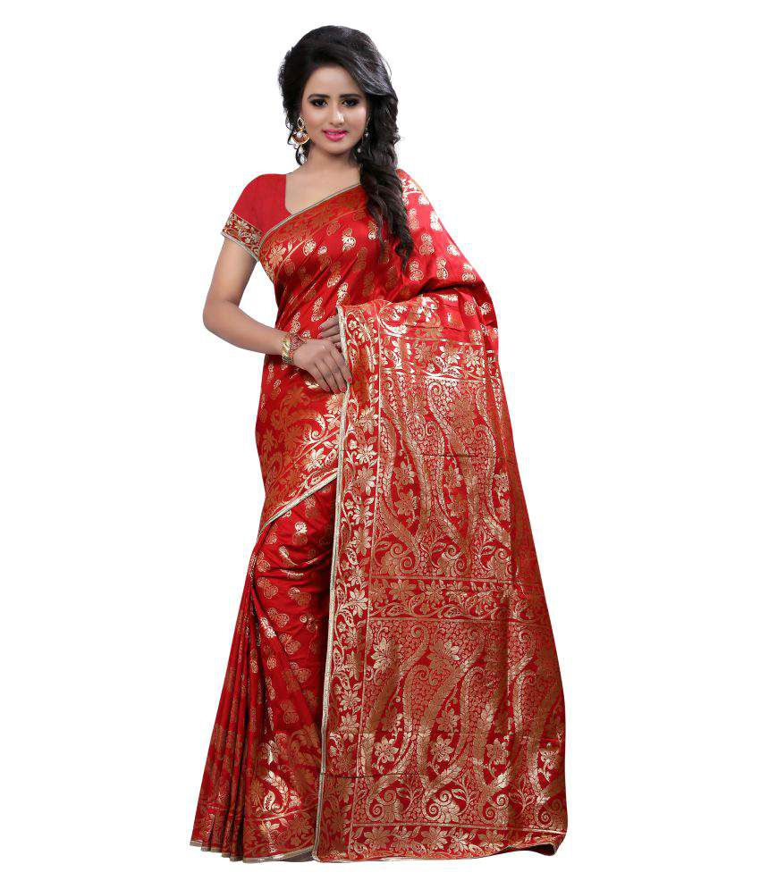 Inheart Red Tussar Silk Saree