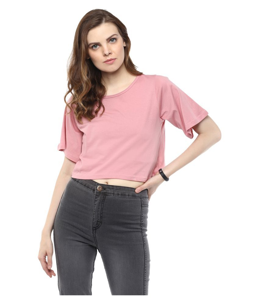Yepme Pink Cotton Crop Tops