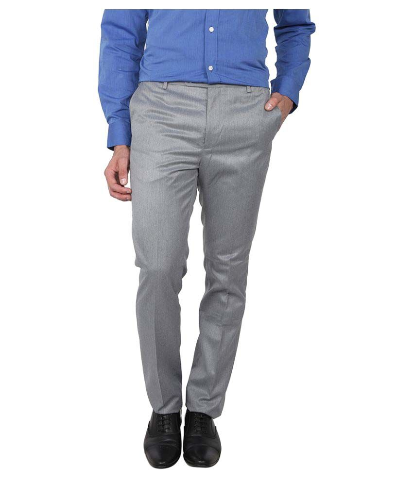 Arrow Grey Slim Flat Trouser