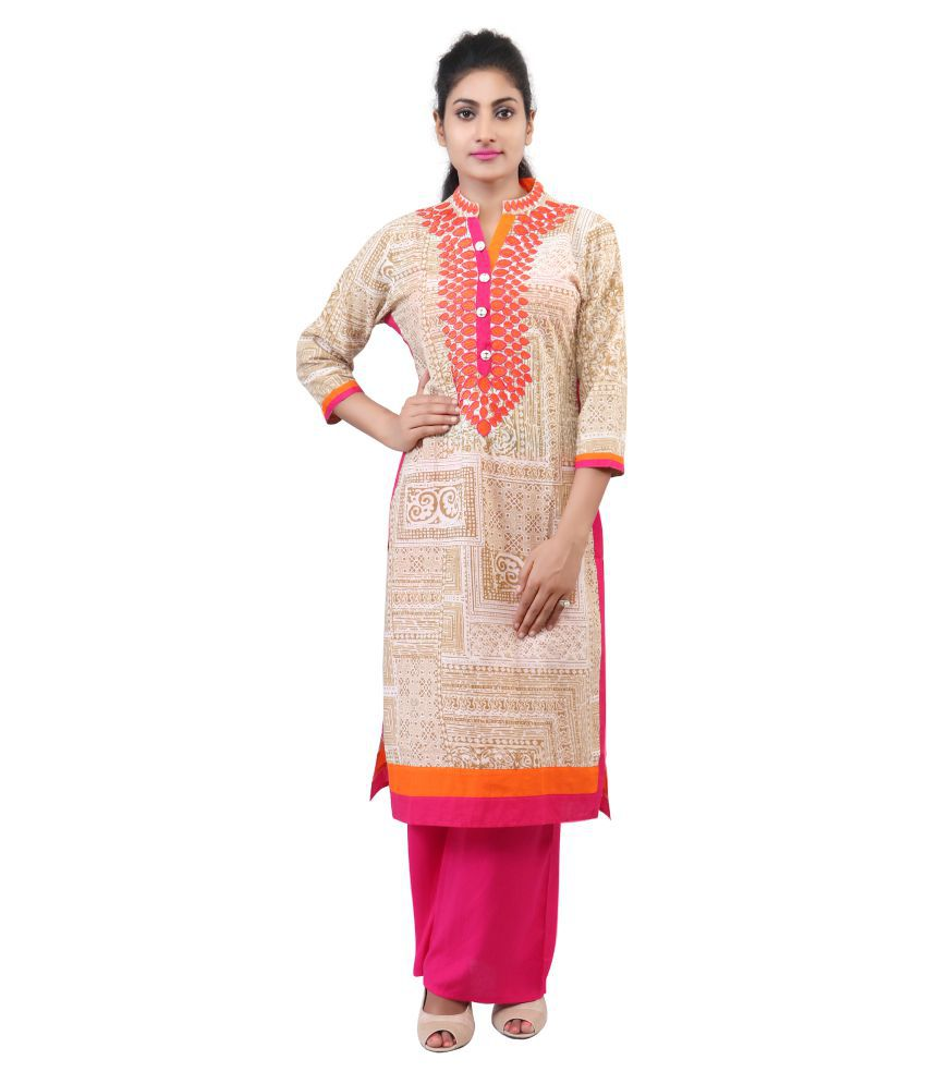 Choose N Use Beige Cotton Straight Stitched Suit