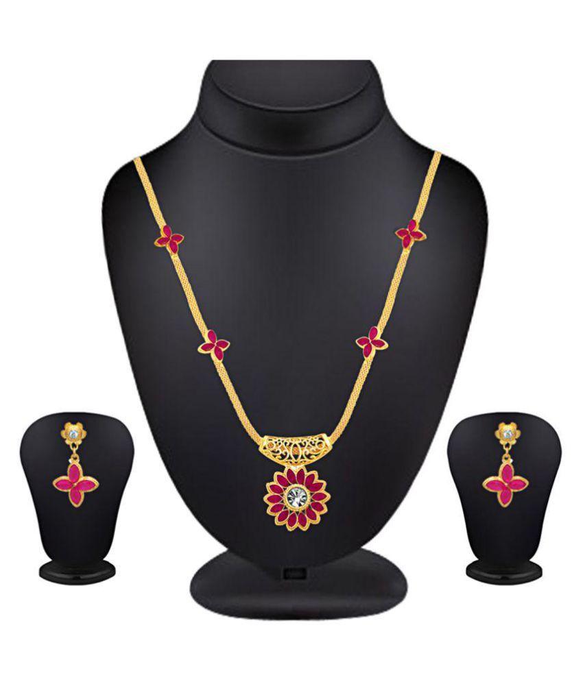 Spargz Golden Alloy Necklace Set