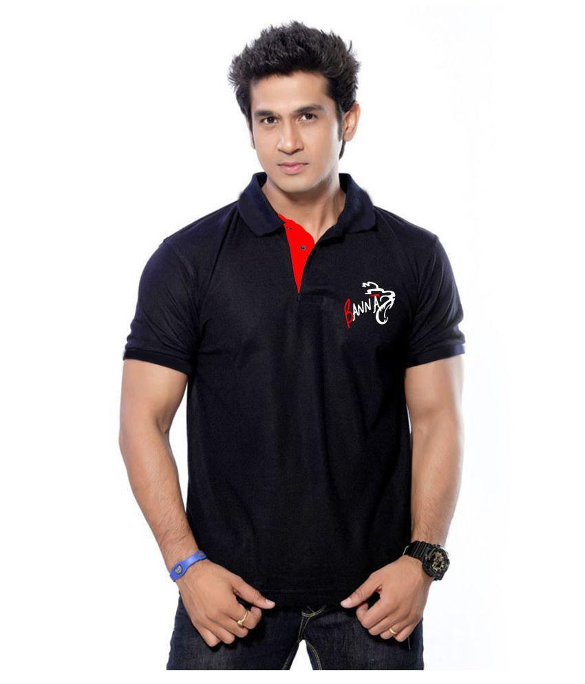 Black t shirt low price - Rajputana Brothers Black Regular Fit Polo T Shirt